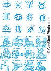 zodíaco, constelación, símbolo