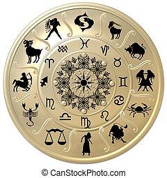 zodíaco, disco, con, señales, y, símbolos