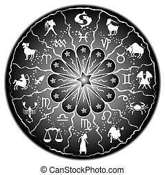 zodíaco, disco, ilustración