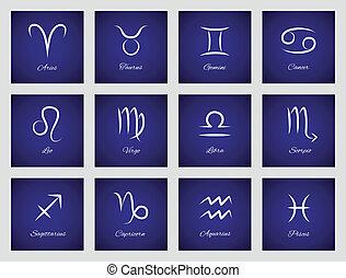 zodíaco, iconos, señales