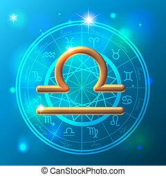zodíaco, libra, señal, dorado