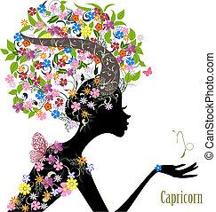 zodíaco, moda, señal, niña, capricorn.