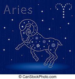 zodíaco, señal, copos de nieve, aries
