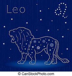 zodíaco, señal, copos de nieve, leo