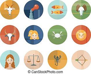 zodíaco, symbols., conjunto, astrológico, horoscope.