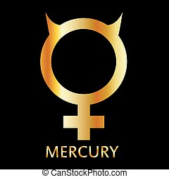 Zodiac and astrology symbol of the planet Mercury in gold colors- astronomical icon