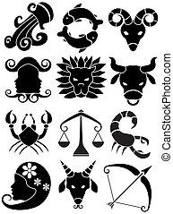 Zodiac Animal Black - Icons: Set of horoscope sign animal...