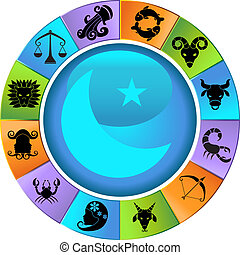 Set of colorful wheel framed horoscope sign animal icons in vibrant color.