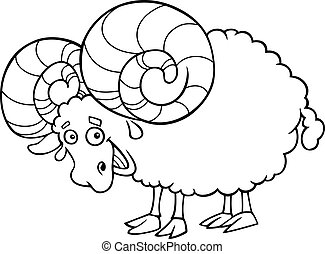 zodiac aries or ram coloring page - Black and White Cartoon ...