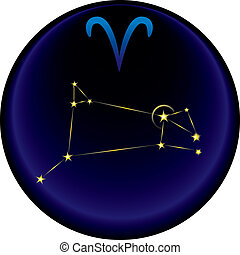 Zodiac Aries Sign - Aries constellation plus the Aries...