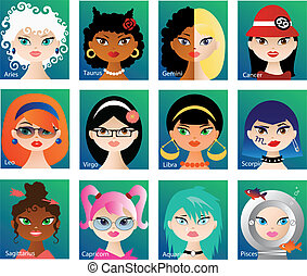 Set of twelve vector cartoon icons with cute girls faces representing astrological signs