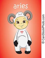 zodiac baby aries vector
