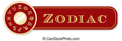 Zodiac Banner, 12 astrology sun signs, red and gold...