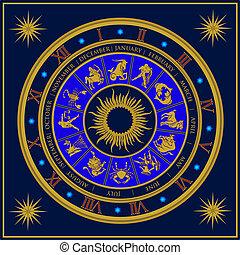 Blue analogue zodiac clock constellation vector illustration