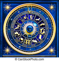 Zodiac Blue - Blue zodiac clock with gold deatail and...