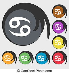 zodiac Cancer sign icon. Symbols on eight colored buttons. Vector