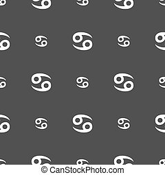 zodiac Cancer sign. Seamless pattern on a gray background. Vector