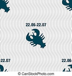 zodiac Cancer sign. Seamless pattern with geometric texture. Vector