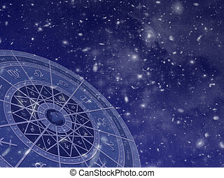 Zodiac circle overlayed on star field photos taken by the Hubble telescope.