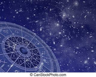 Zodiac circle on star field - Zodiac circle overlayed on...