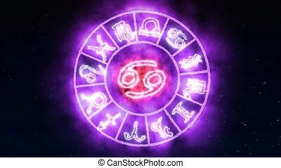 Zodiac circle rotate grow and show all 12 zodiac sign and name and purple spark effect background