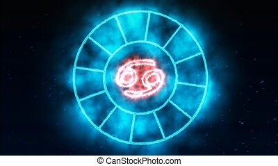 Zodiac circle rotate grow blink circle both appear and disappear and show all 12 zodiac sign and name blue spark effect