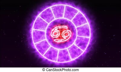 Zodiac circle rotate grow blink circle show all 12 zodiac sign and name purple spark effect