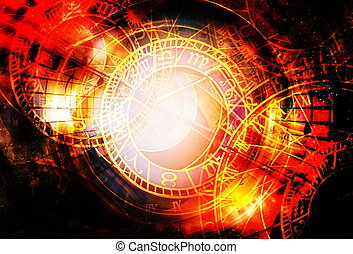 Zodiac collage in cosmic space. Abstract color background. Time concept.
