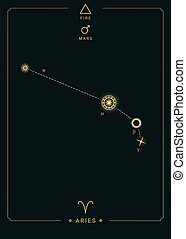 Zodiac constellation Aries. Symbol of the planet Mars, the element of fire
