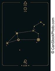 Zodiac constellation Leo. Symbol of the sun, the element of fire