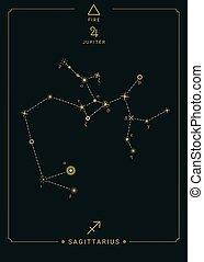 Zodiac constellation Sagittarius. Symbol of the planet Jupiter, element of fire