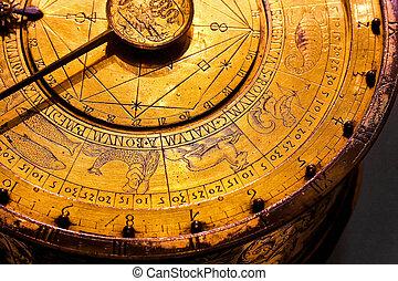 Zodiac detail - Old astrology clock with golden zodiac...