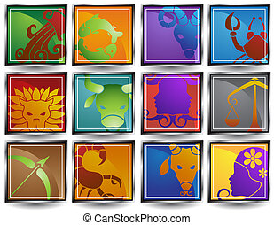 zodiac, dier, frame, iconen