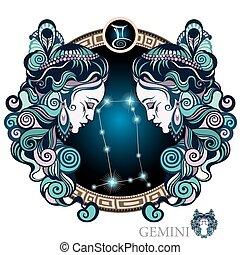 zodiac, gemini., meldingsbord