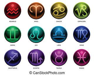 zodiac, glanzend, tekens & borden