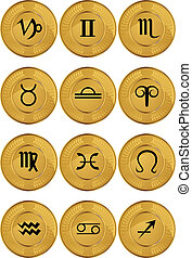 Zodiac Gold Coins vector illustration image scalable to any...