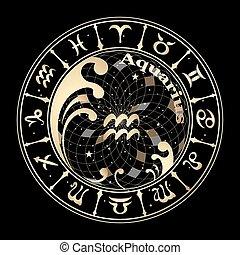 zodiac, goud, meldingsbord