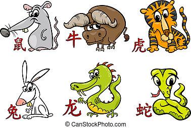 zodiac, horoscoop, chinees, tekens & borden