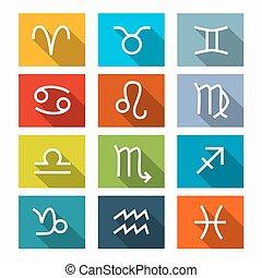 Zodiac - Horoscope Square Vector Icons Set