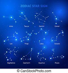Zodiac horoscope star signs vector illustrations.