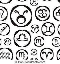 Zodiac icon set vector pattern