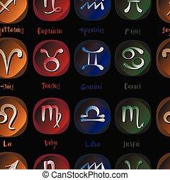 Zodiac icon set vector sign pattern