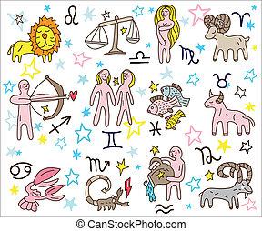 Zodiac icons doodles set