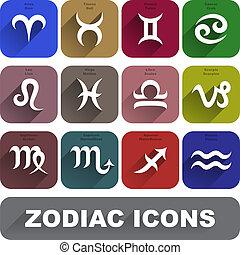 Zodiac icons set