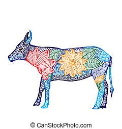 zodiac, illustration-, chinees, os