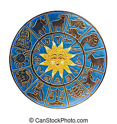 Zodiac with sun isolated included clipping path
