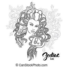 zodiac., leo, vetorial