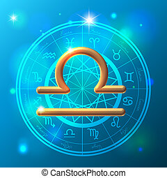 Zodiac Libra golden sign - Golden Zodiac decorative vector...