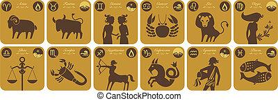 zodiac, moderne, tekens & borden