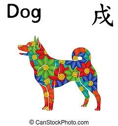 zodiac, oostelijk, dog, meldingsbord